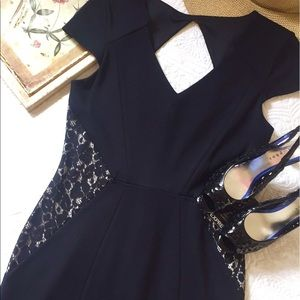 NWT Express black fitted cap sleeve dress